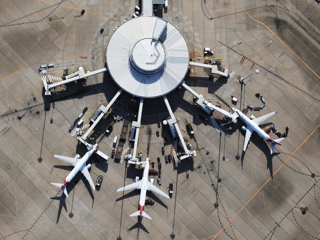 Qantas planes at Brisbane's domestic airport.