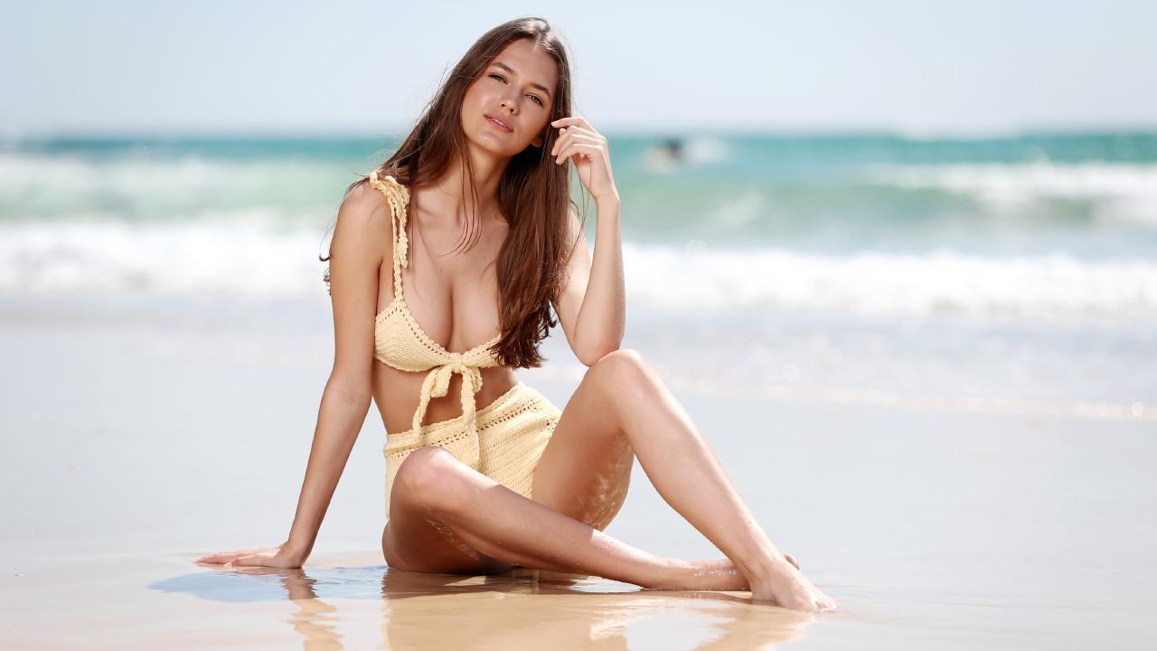 Brisbane model Ashleigh Allerton wearing She Made Me swimwear trends. Picture: Nigel Hallett