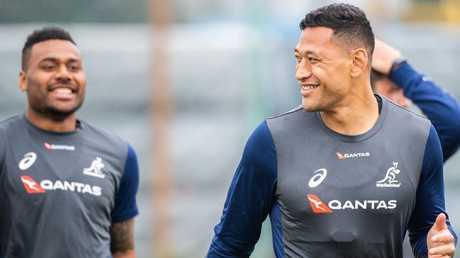Israel Folau and Samu Kerevi at training this week ahead of the Test against the All Blacks. Photo: Stuart Walmsley/Rugby AU Media