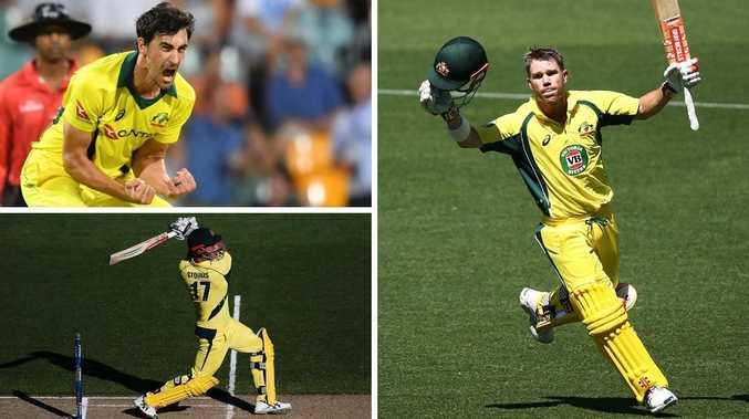 Three of Australia's key World Cup stars (Clockwise): Mitchell Starc, David Warner and Marcus Stoinis.