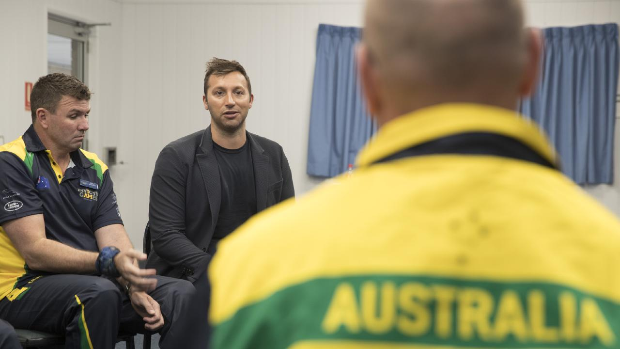 Australian Olympic swimming legend Ian Thorpe speaks with the Australian Invictus Games swimming team at the Sydney Academy of Sport and Recreation.