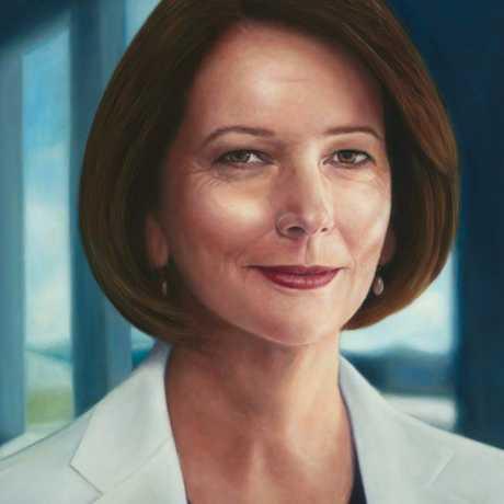 Former prime minister Julia Gillard's official portrait by artist Vincent Fantauzzo.