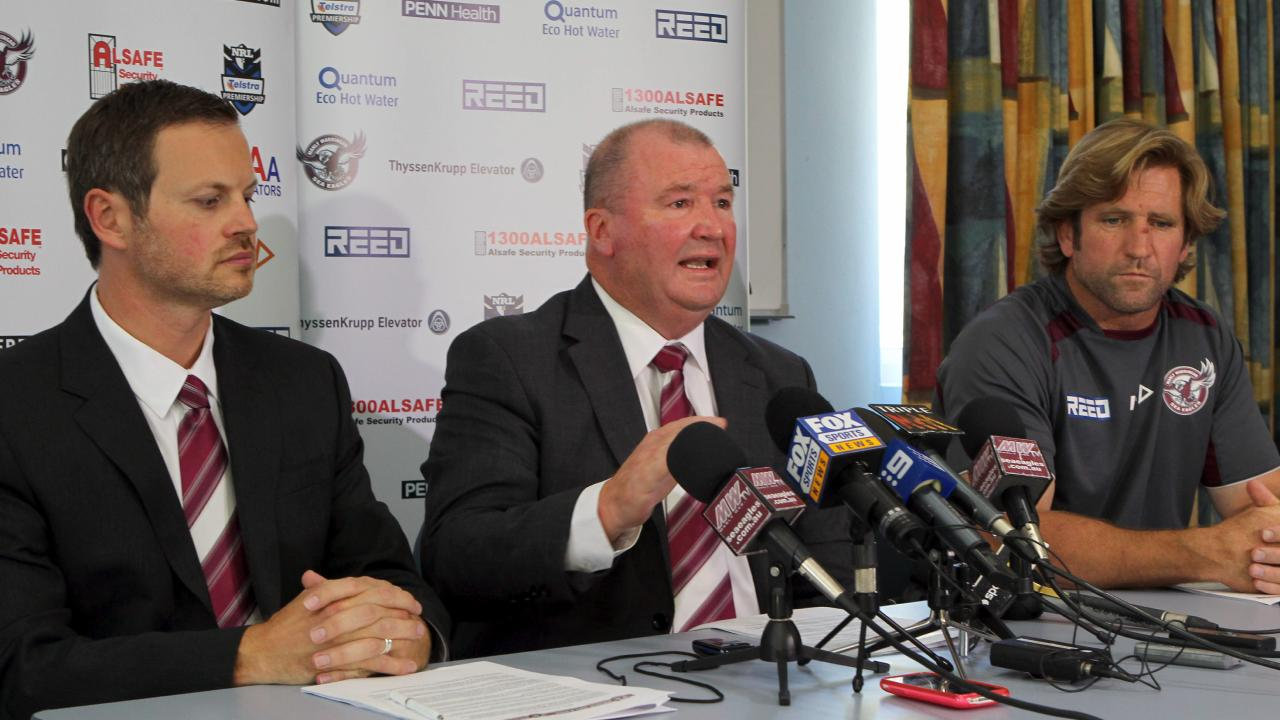 Manly Sea Eagles chairman Scott Penn, with then CEO Graham Lowe and coach Des Hasler.