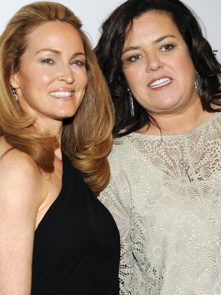 Rosie O'Donnell with second wife, Michelle Rounds. Rounds took her own life in 2017. Picture: AP
