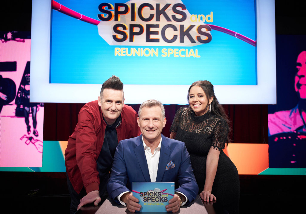 Alan Brough, Adam Hills and Myf Warhurst have reunited for a one-off Spicks and Specks reunion special.