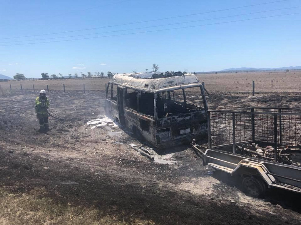 MINI VAN FIRE: The charred remains of a vehicle after a crash north of Rockhampton.