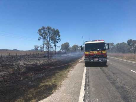 The incident sparked a grass fire on the side of the road.