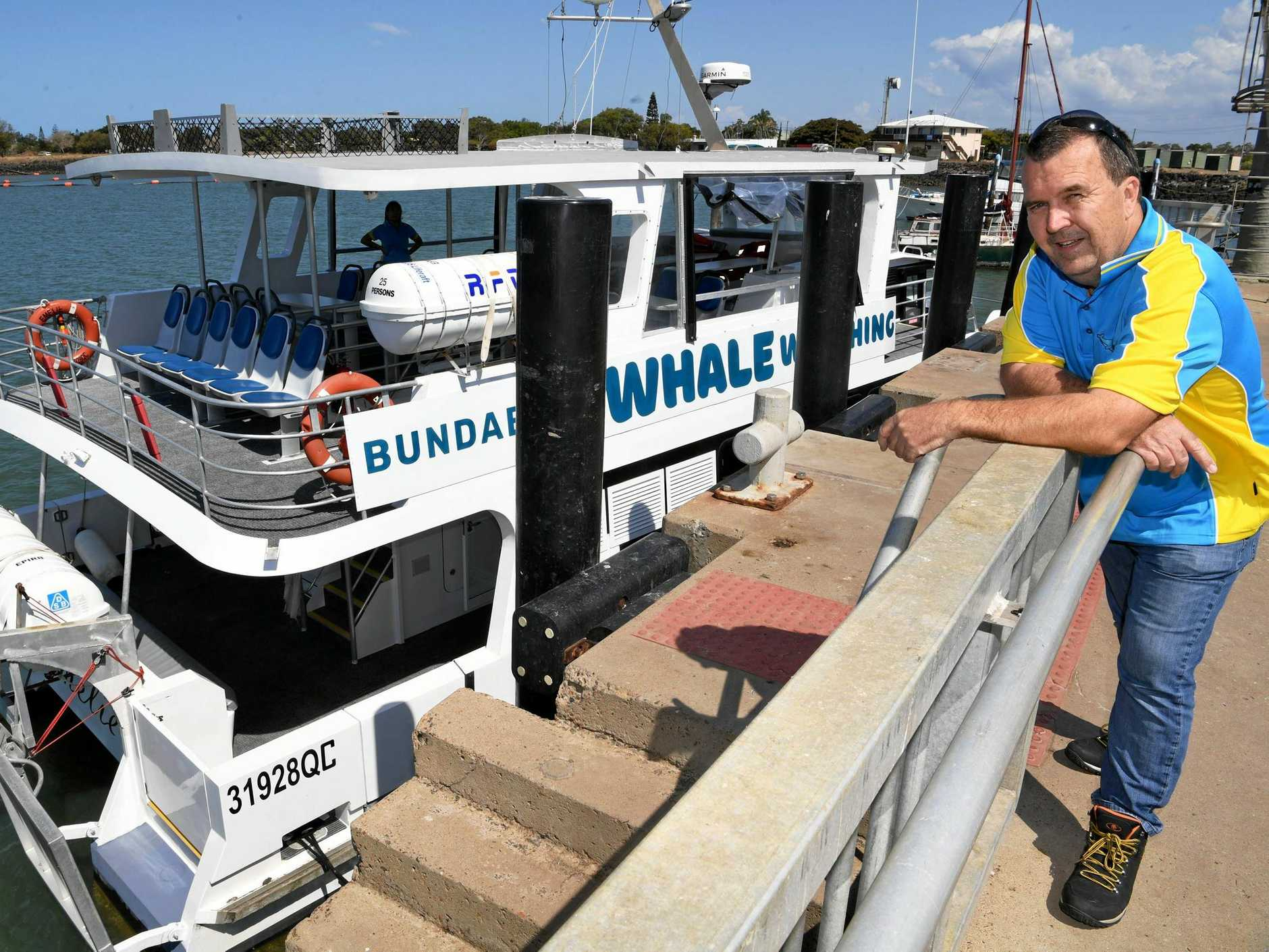 ASKED TO LEAVE: Ian Brookfield of Bundaberg Whale Watching with his boat at Burnett Heads.