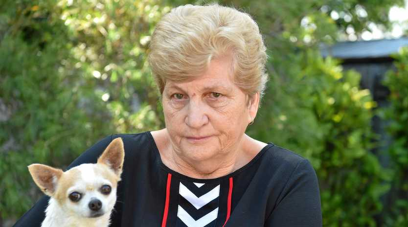 DEVASTATED: Dawn Polkinghorne mourns with her chihuahua Jesse after her other dog Molly was mauled to death.