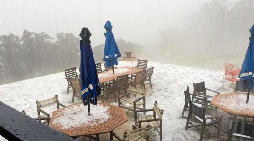 Hail smashed Spring Creek Cafe this afternoon.