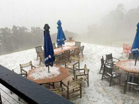 Hail smashed Spring Creek Cafe yesterday.