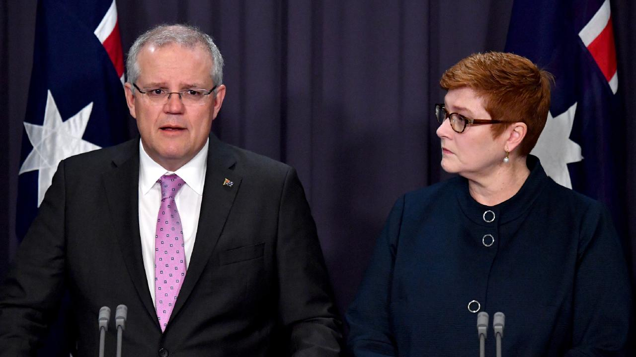 PM Scott Morrison and Foreign Minister Marise Payne announce the change in policy to move the Australian embassy in Israel to Jerusalem. Picture: AAP Image/Mick Tsikas