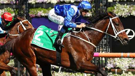 Winx extended her winning run to 28 when she got herself out of an awkward spot to win the Turnbull Stakes at Flemington. Picture: Getty Images