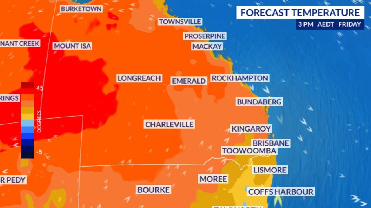 A heatwave in central and western Queensland could break records and funnel heat down to the state's south east. Picture: Sky News Weather.