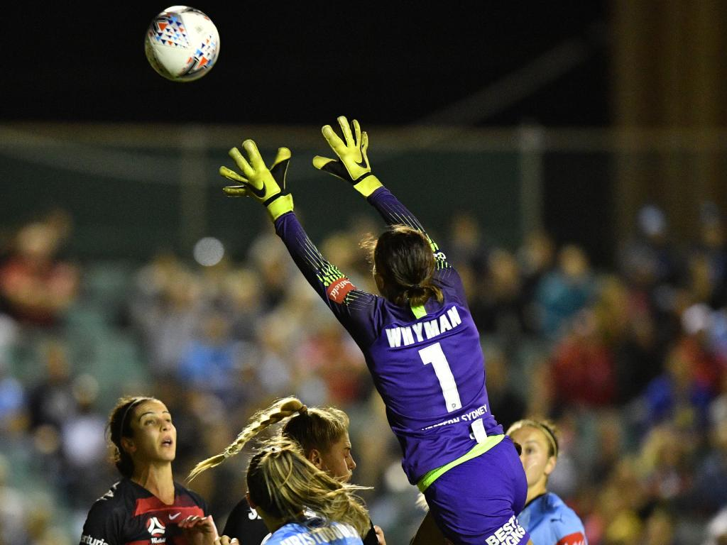 Western Sydney Wanderers goalkeeper Jada Mathyssen-Whyman about to claim a high ball on Thursday night. Picture: AAP