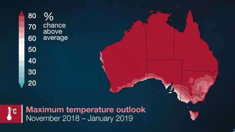 It's likely to be hotter than average going into winter. Picture: Bureau of Meteorology.