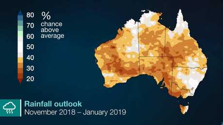 Rainfall is forecast to be below average across much of Australia up to and including January. Picture: Bureau of Meteorology.