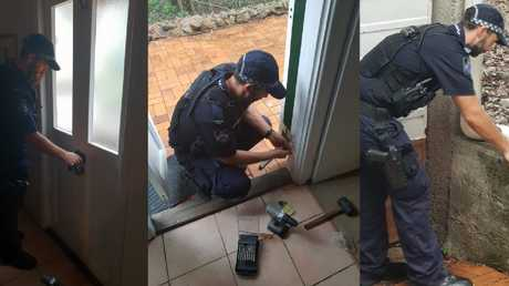 Constable Boswell worked to secure the Brisbane woman's home. Picture: QPS
