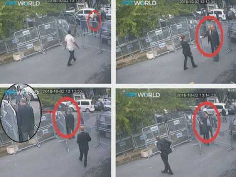 CCTV video obtained by the Turkish broadcaster TRT World appeared to show the Washington Post columnist entering the Saudi consulate in Istanbul. Picture: CCTV/TRT World via AP