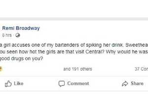 Bar owner says girl is 'too ugly to be spiked'