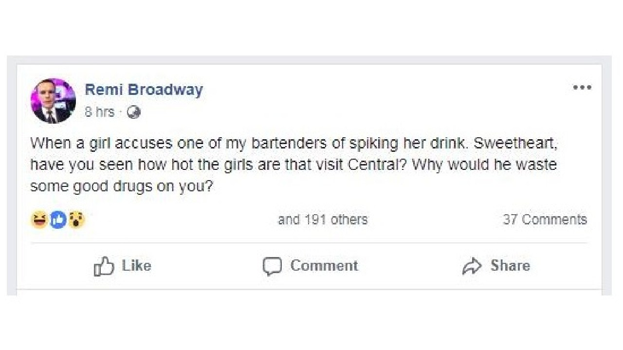 A Facebook post by Central Lounge Bar and Dining owner Remi Broadway