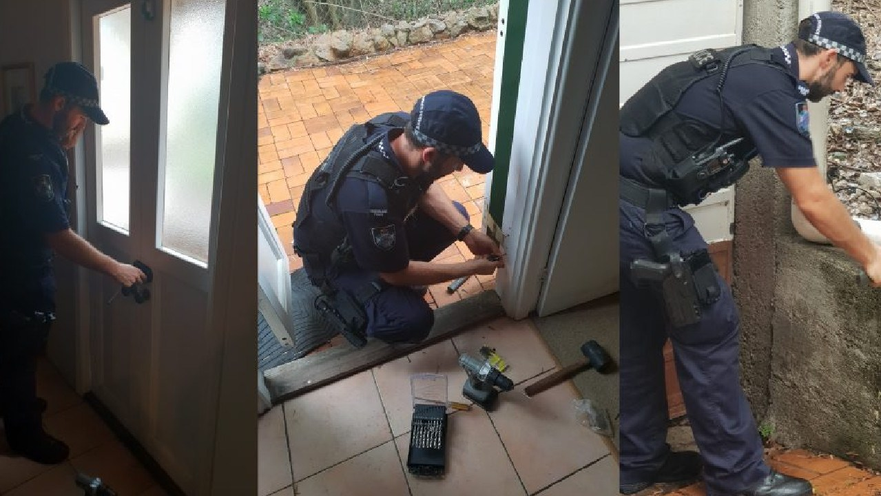 Constable Boswell used his former tradie skills to rehang woman's door after attempted break-in. Picture: QPS