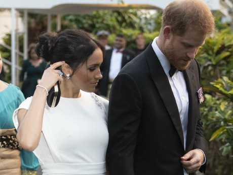 Meghan wore a dress by Theia and a ring from Diana's collection. Picture: Paul Edwards/AP