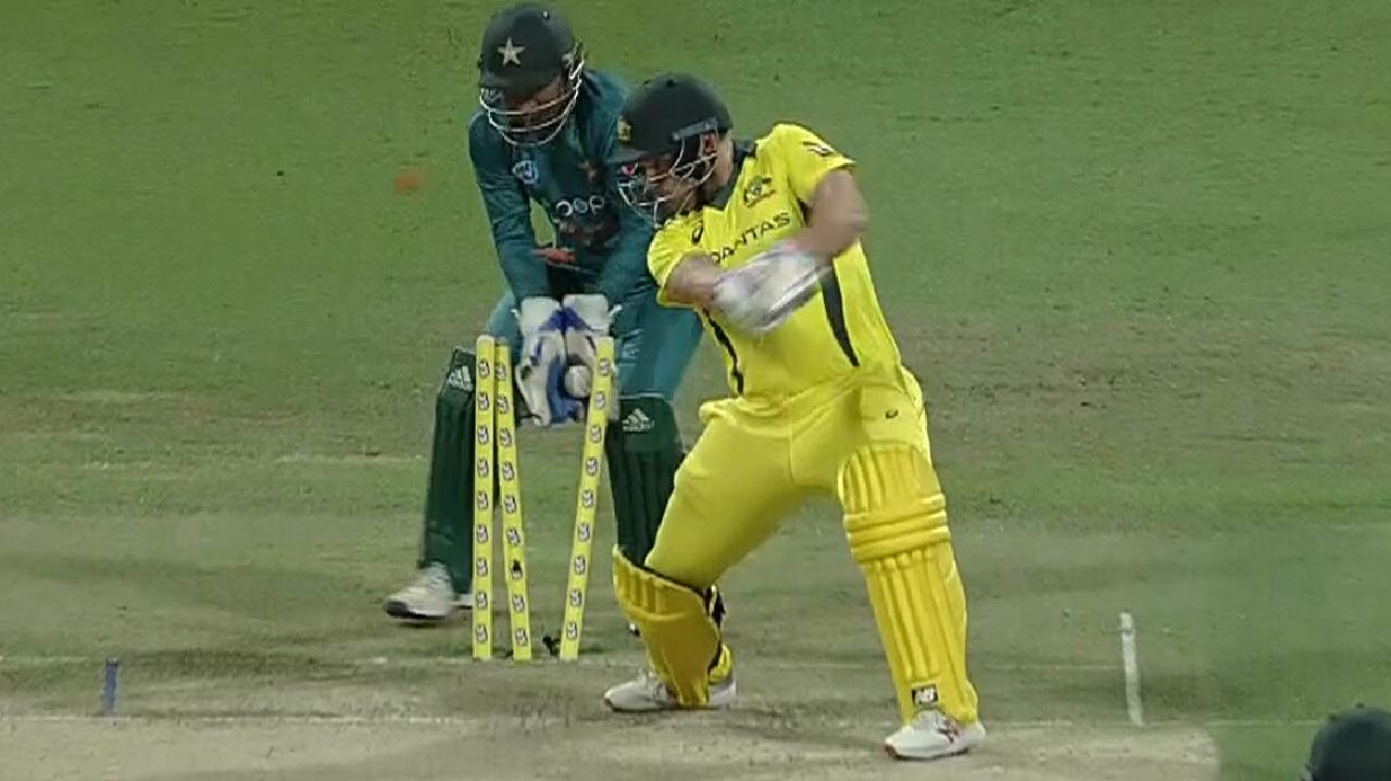 Aaron Finch is dismissed by Imad Wasim.