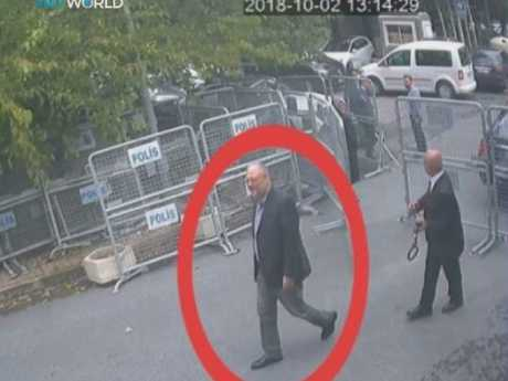 The Virginia resident never emerged from the consulate, and Saudi authorities later confessed he had been killed. Picture: CCTV/TRT World via AP