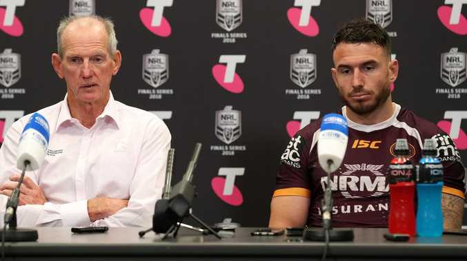 Coach Wayne Bennett and Captain Darius Boyd during the post game presser, NRL Broncos v Dragons Round, Suncorp Stadium, Milton. Photographer: Liam Kidston.