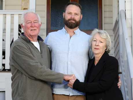 David and Mary McCarthy with Jonathan Walter at their home in Toowoomba. Picture: Gary Ramage
