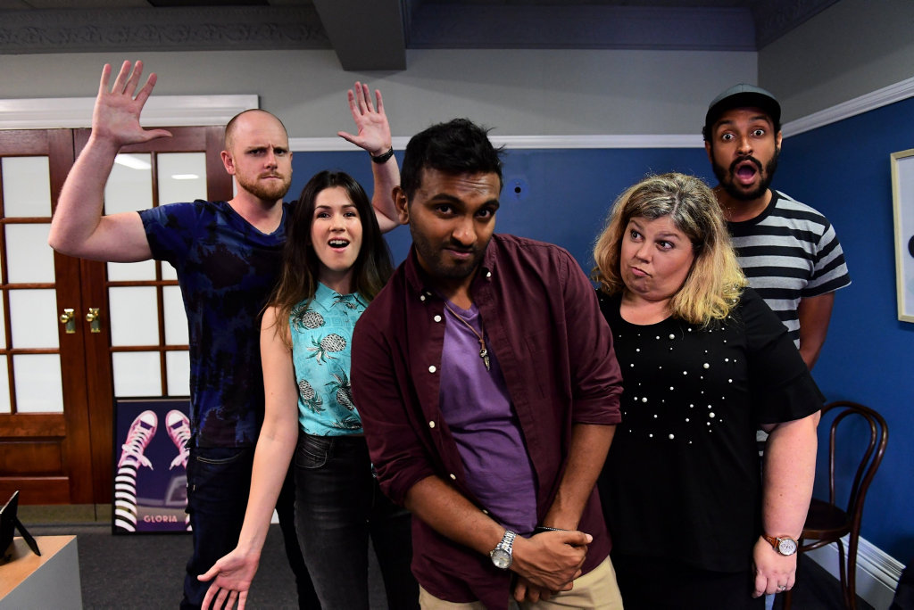 From left, Broden Kelly, Becky Lucas, Nazeem Hussain, Urzila Carlson and Matt Okine star in Orange Is The New Brown.