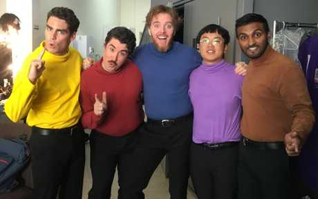 Tim Minchin, centre, guest stars in a Wiggles sketch with Nazeem Hussain, far right, in Orange is the New Brown.