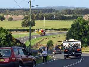 Motorbike rider airlifted to hospital after crash
