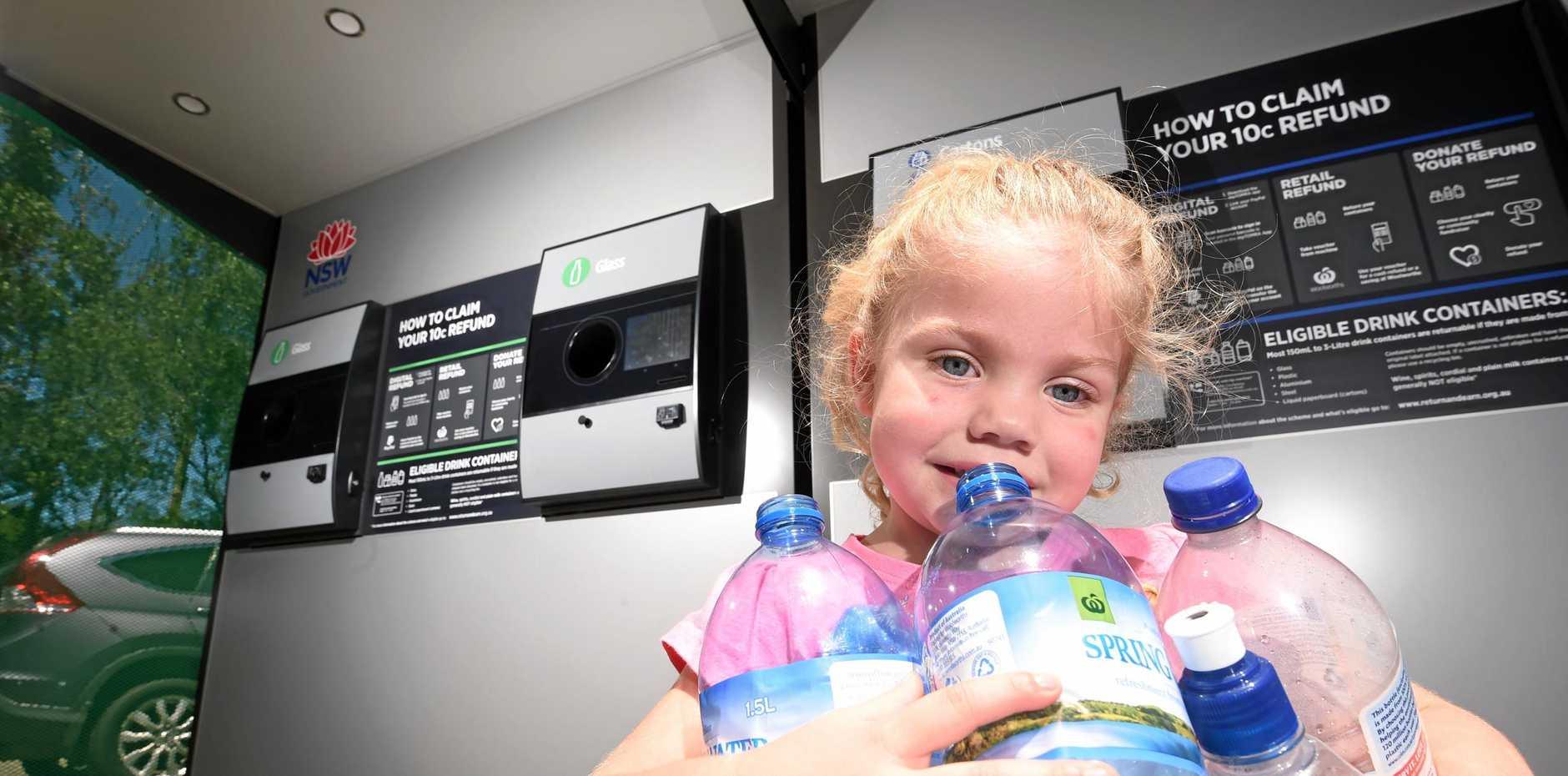 RECYCLE: Return plastic bottles  in order to raise money .