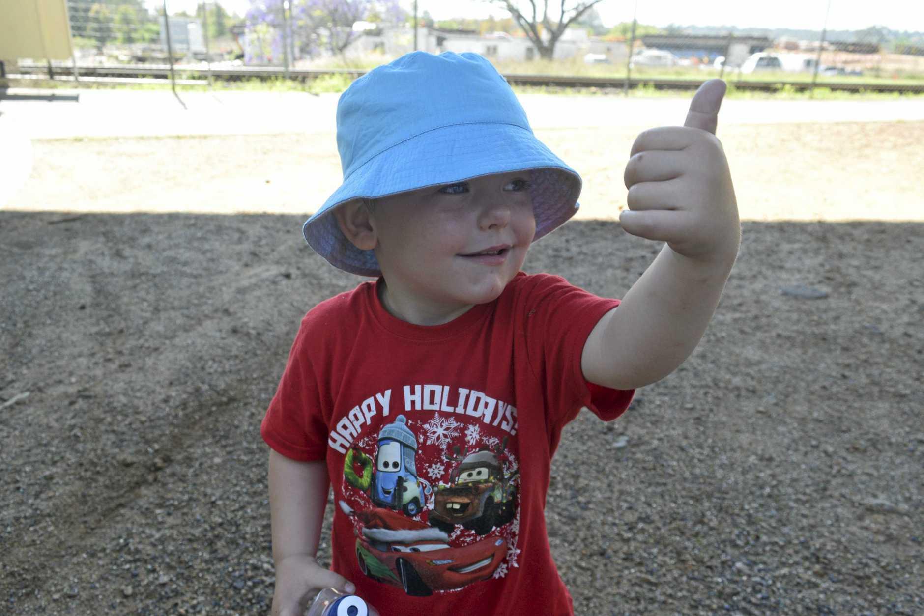 Cooper gave a big thumbs up to the walk across Grafton bridge.