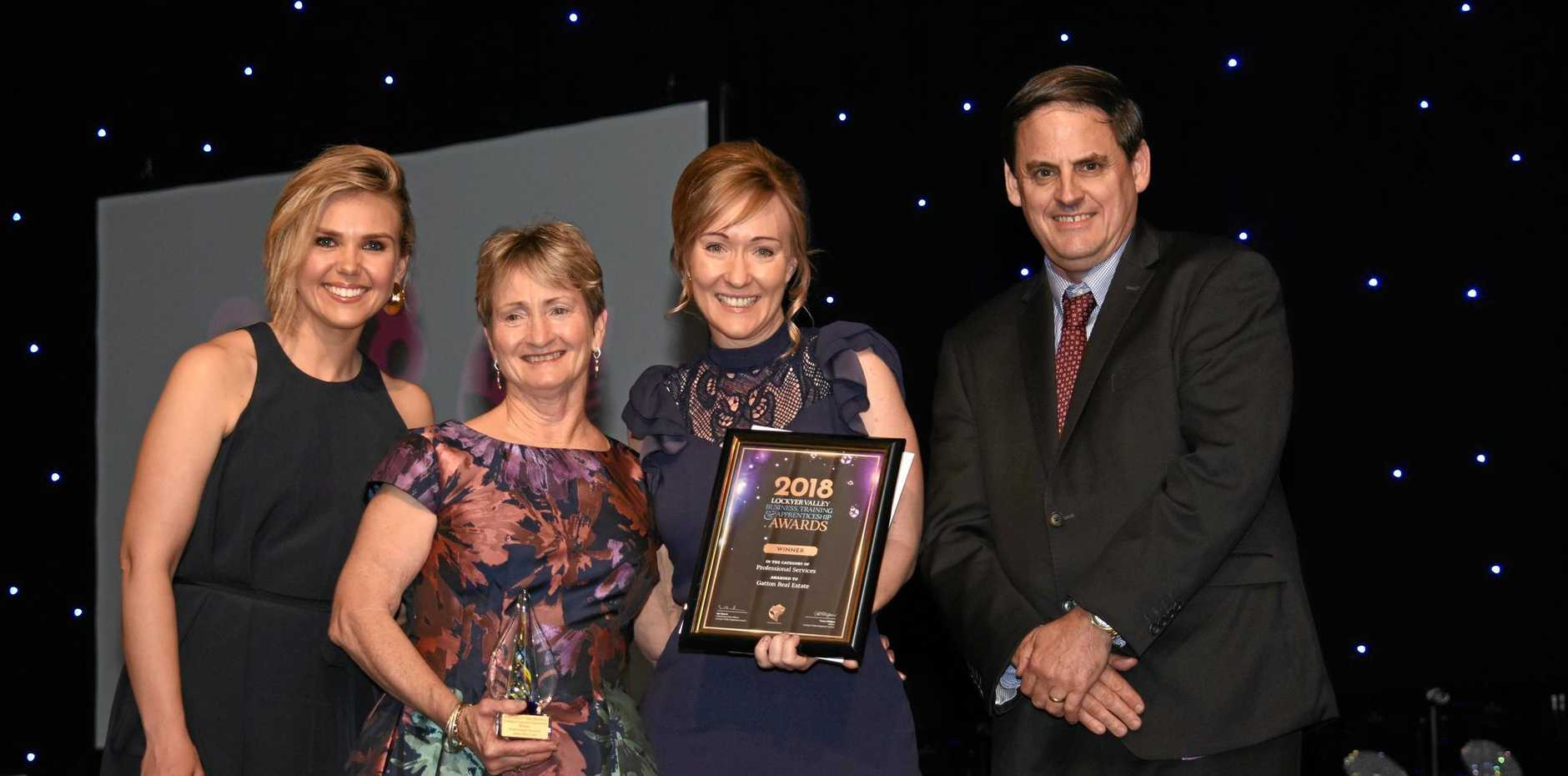 BIG WINNERS: Edwina Bartholomew, Rhonda McLucas, Allison Graham and Paul Belz at the business awards.