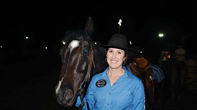 WINNER: Teneille Angland  won the first of four rounds in the Warwick Rodeo APRA National Finals for barrel racing.