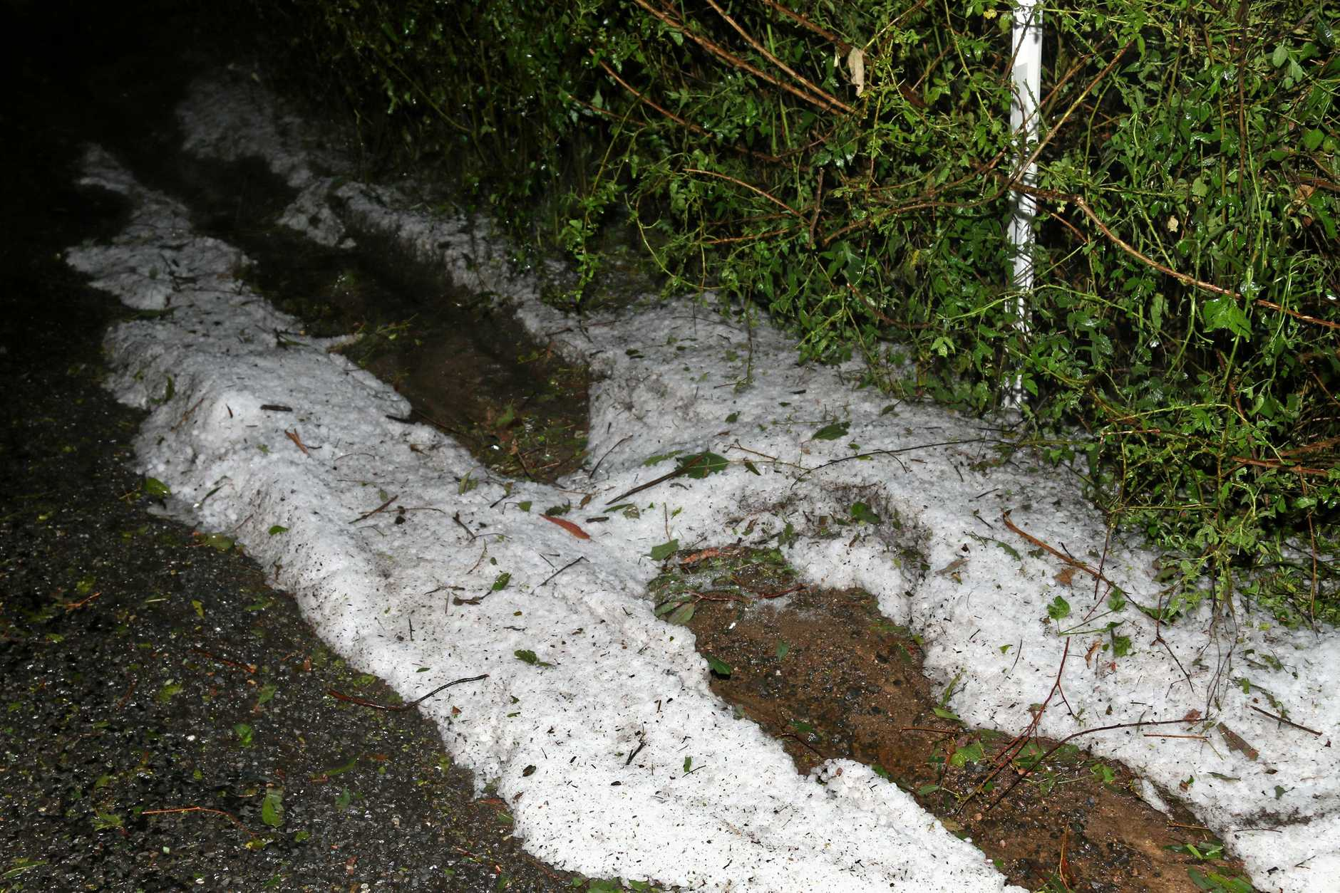 Hail pelted down at Killarney, leaving a blanket of ice so thick it looked like snow.