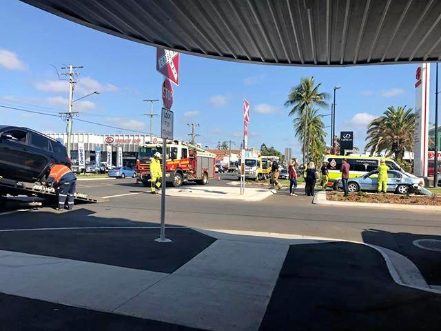 A two-car crash caused delays in Rocky CBD this morning.