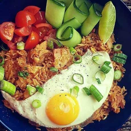 Lure Living used the eggs in their chicken and prawn nasi goreng.