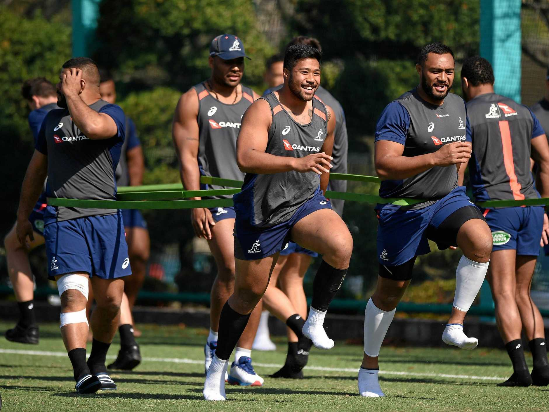 Folau Faingaa, centre, is all smiles as the Wallabies train on Thursday at Funabashi, Japan ahead of the third Bledisloe Cup Test against the All Blacks on Saturday afternoon. Picture: Matt Roberts/Getty