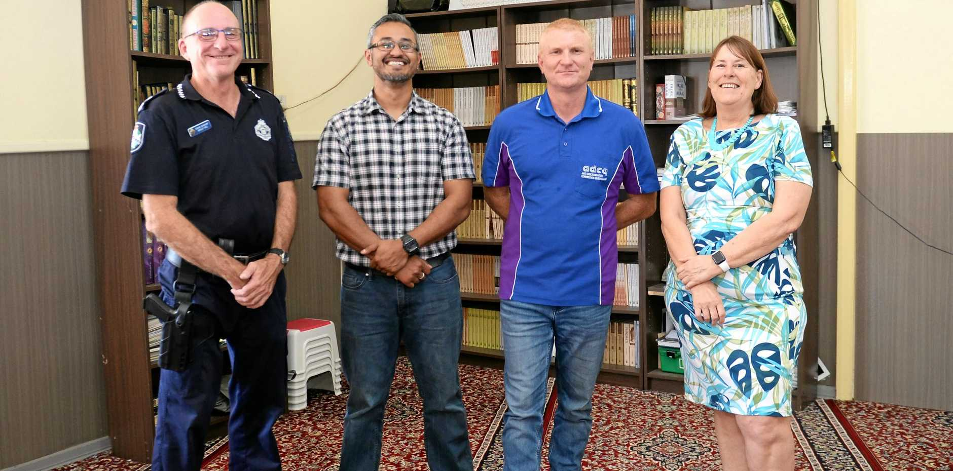 Snr Sgt Ashley Hull, Binil Kattiparambil, Ben Cook and Jill Armstrong at CQ Islamic Centre.
