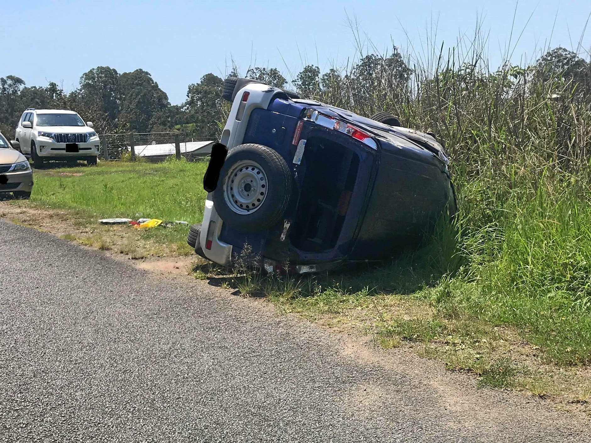 A single vehicle rollover at Veteran left the sole occupant suffering from minor injuries.