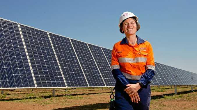 POWERING ON: Adani Renewables Australia CEO, Dr Jennifer Purdie, at the Rugby Run solar farm near Moranbah.