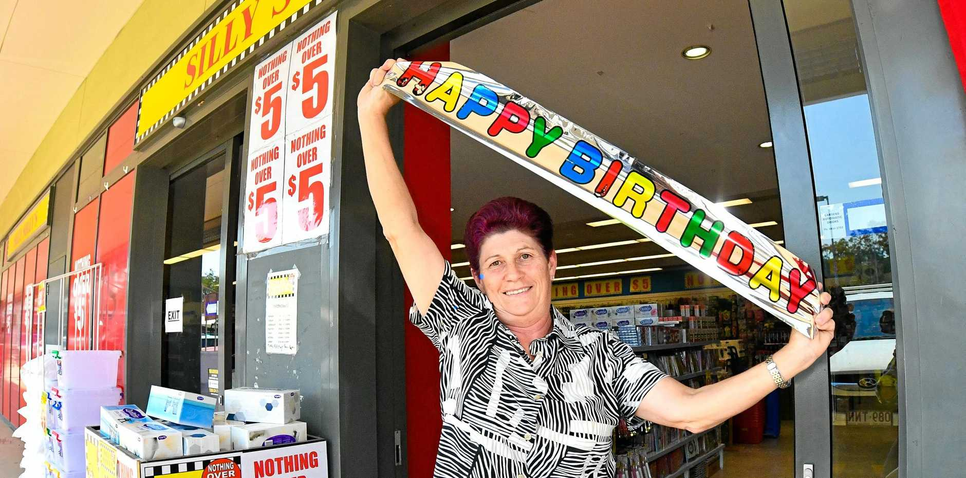 ANNIVERSARY CELEBRATIONS: Silly Solly's Manager Carole Churchward was excited about the store's first birthday in Gladstone.