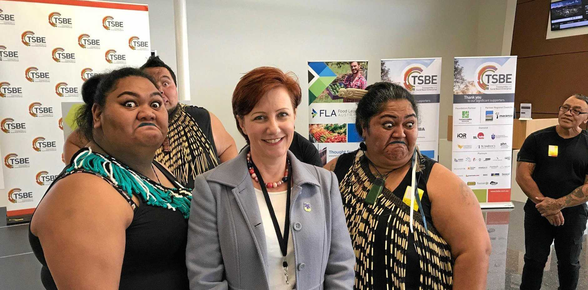 FLAGSHIP EVENT: Toowoomba and Surat Basin Enterprise CEO Ali Davenport (centre), with Queensland Maori Society's Tumanako Williams (left) and Melissa Mika, at the Access NZ launch which returned $4 million in business to the region.