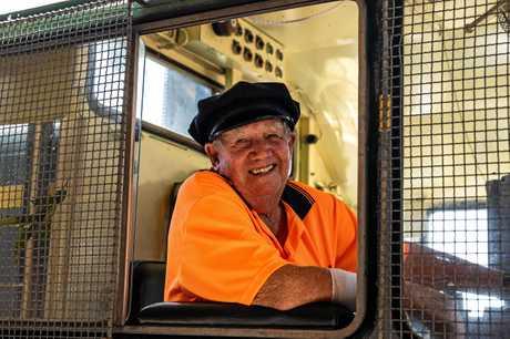 Bob Keogh in a steam locomotive.