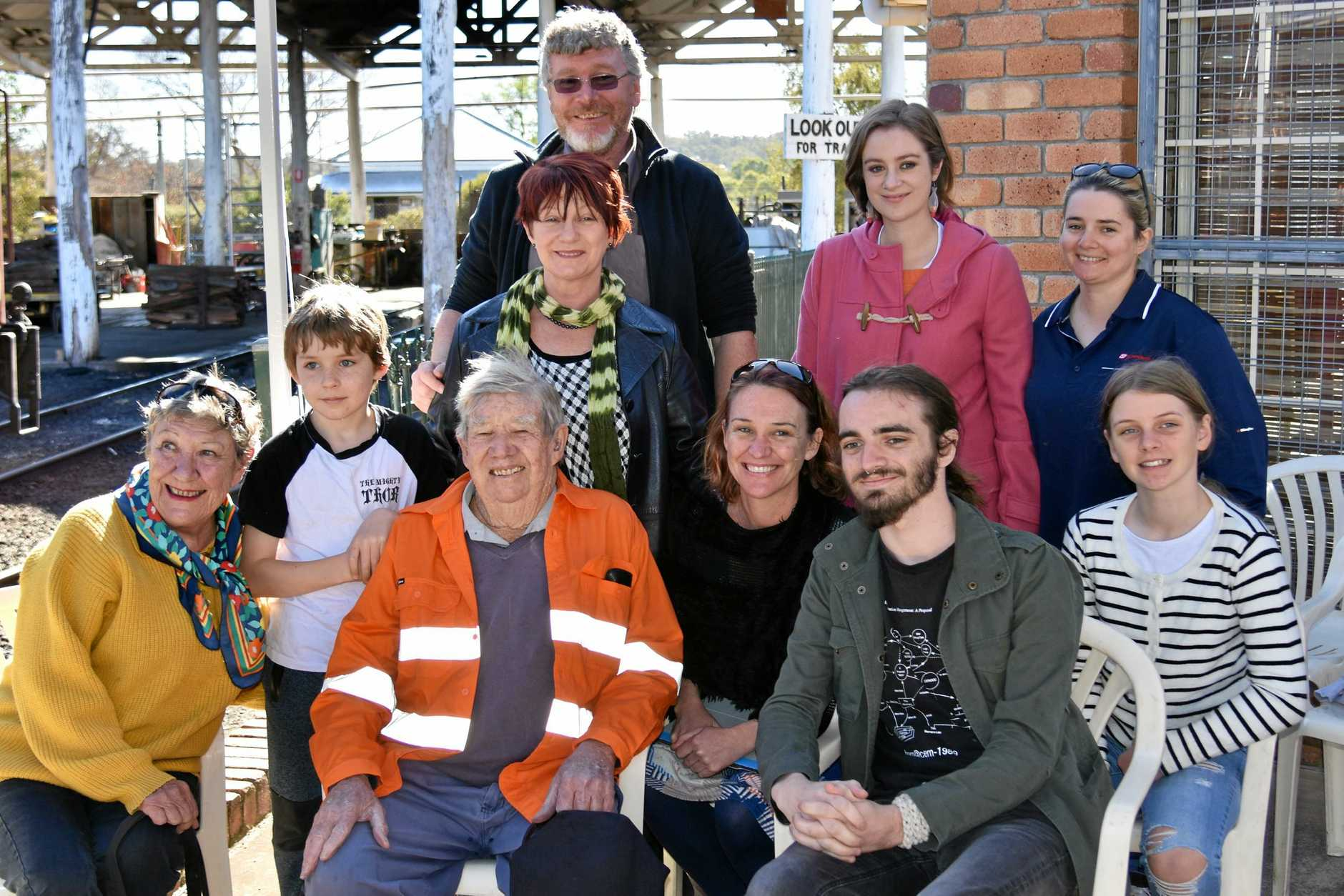 COMMUNITY LEGEND HONOURED: Bob Keogh with his family honoured for his tremendous worth ethics for the Southern Downs Steam Railway