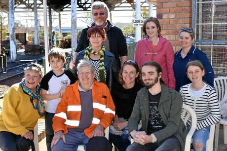 COMMUNITY LEGEND HONOURED: Bob Keogh, pictured with his family, was honoured for his tremendous work ethic with the Southern Downs Steam Railway.